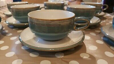 8x Denby Azure Tea / Coffee Cups With Saucers • 51.99£