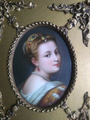 Antique Kpm Style Hand Painted Framed Plaque • 899£