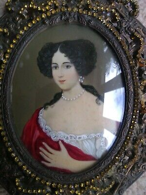 Antique Miniture Hand Painted Framed Picture • 89£