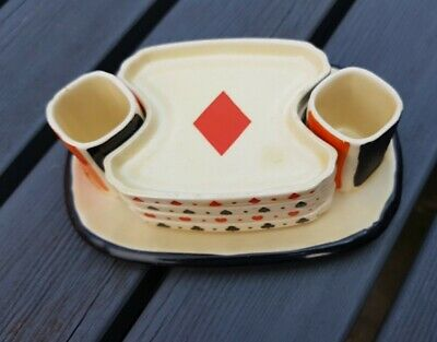 Lovely Royal Doulton Art Deco Bridge Set In Playing Card Design • 28.99£