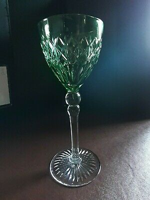 Bohemian Cut Crystal Coloured Wine / Hock Glass - 17.6cms Tall - Mint Condition • 17.50£