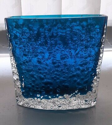Whitefriars Bow Fronted Nailhead Vase In Kingfisher Blue • 20£