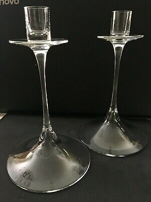 ORREFORS Crystal Candle Holders - A Pair • 45£