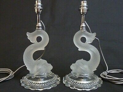 Vintage Pair Of Baccarat Crystal Dauphin Glass Lamps Stylised Dolphin • 825£