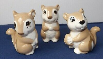 Vintage Set Of 3 Whimsical Chipmunks In Beige & White By Szeiler - Perfect! • 12.49£