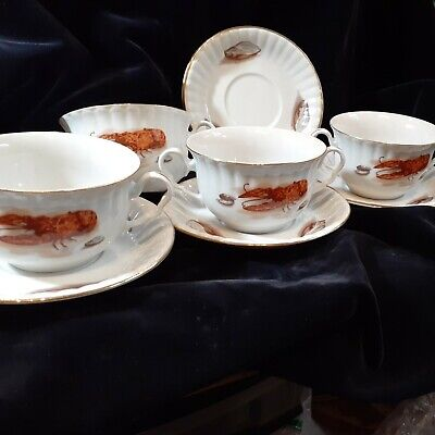 Antique WAWEL Porcelain China - LOBSTER & CLAMS - Set Of 4 Cream Soups W/saucers • 72.98£