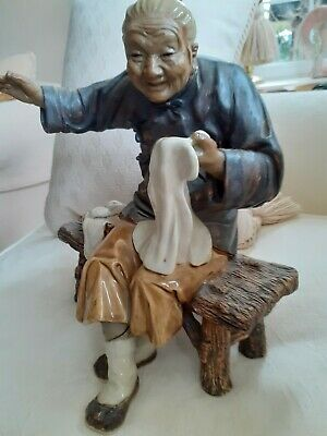 Chinese Pottery Figure - Sew-sew Lady Seated, Very Detailed And True To Life. • 42£