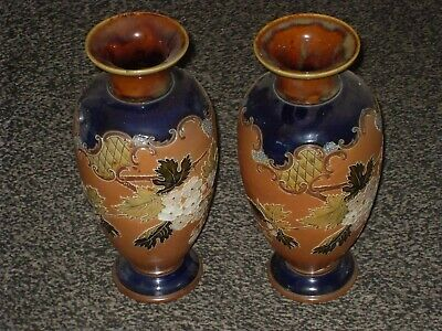 Beautiful Pair Of Royal Doulton Art Pottery Slaters Patent Vases Flowers • 75£