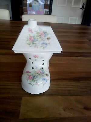 Staffordshire Bone China Floral Boot With Roof Tea Light Holder • 11£