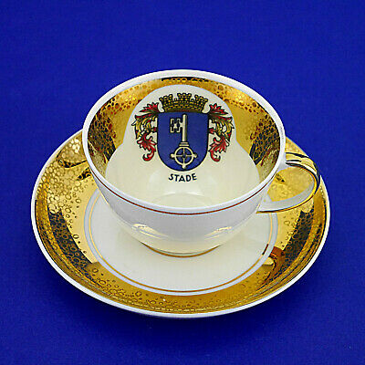 Porcelain/Bone China Gilded Stade Coffee/Demitasse Duo - Cup & Saucer • 9.99£