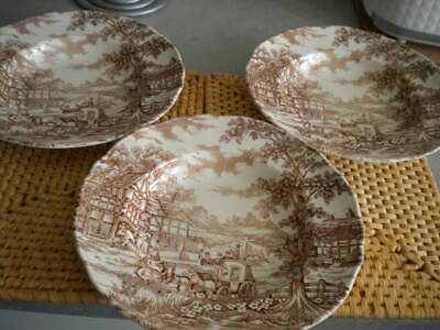 Set Of 3 Vintage Alfred Meakin COACHING DAYS Brown Dishes 20cm   • 22£
