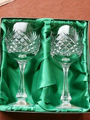 2 X Belfast Crystal Hock / Wine Glasses - Boxed - New - Stamped - Ex Cond • 21.99£