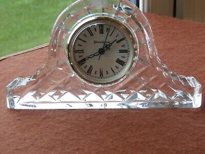 Tyrone Crystal  Large CALEDON Mantel Clock - Stamped - Ex Cond • 17.99£