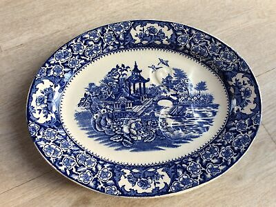 Swinnertons Aston Ware Pottery Flow Blue & White Meat Plate With Tree & Well • 19.99£