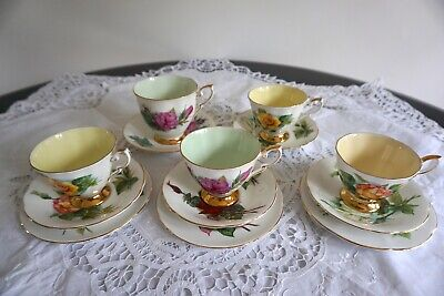 Vintage Paragon Six World Famous Roses Mix And Match Tea Cup And Saucers • 39.99£