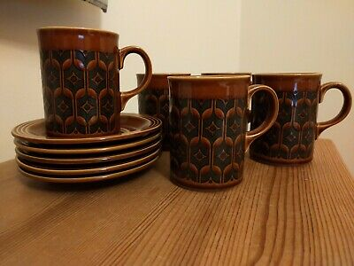 Retro Brown Hornsea Heirloom Mugs With Saucers ( X 5 ) • 25£
