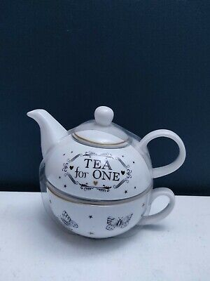 George Home Enchanted Forest White Ceramic Tea For One Set Teapot And Cup - NEW • 11.99£