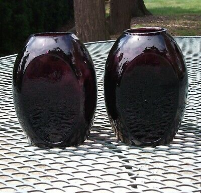 Vintage South Jersey Clevenger Amethyst Inverted Diamond Bookend Vase Pair • 18.24£