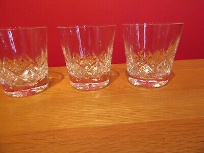 Stunning Retro Vintage Cut Glass Crystal Whisky Spirit Tumblers  Glasses X 3 • 12£