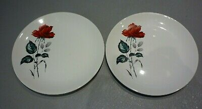 2 X Vintage Swinnertons RED ROSE  Tea Side Plates RETRO KITSCH  Floral China  • 6.89£
