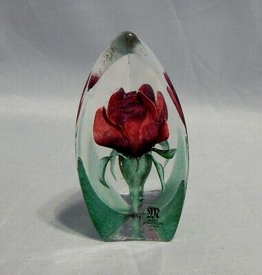 Mats Jonasson Sweden Glass Small Paperweight Painted Etched Red Rose  • 25.33£
