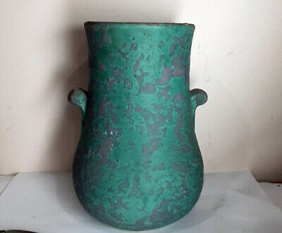 Handsome Art Pottery Handled Vase Green And Gray • 35.78£