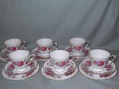 6 Queen Anne Serenade Bone China Trios Cups Saucers Side Plates Pink Floral • 24£