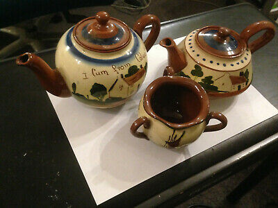 3 Pieces Of Motto Ware (2 Teapots And Bowl) Made In Torquay • 20£