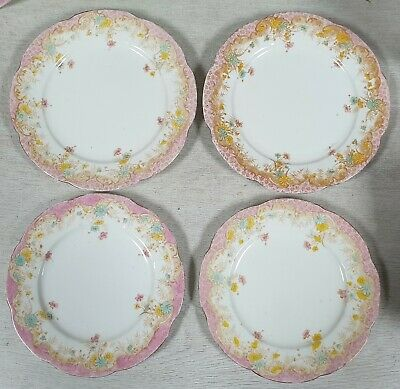 Antique Wileman Foley Shelley Pink Saucers & Side Plates • 9.99£