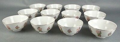 12 Asian Restaurant Ware Rice Bowls Cathay China Decorative Flowers People • 35.77£