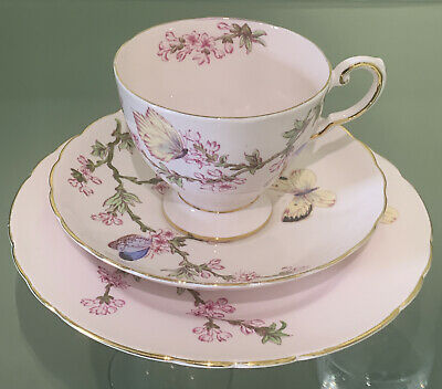 Tuscan Fine English Bone China Butterfly Pink Trio • 16£