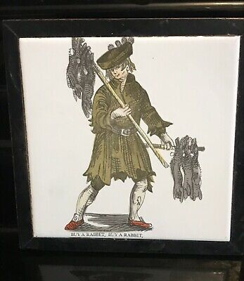 Antique Tile In Wooden Coaster / Teapot Stand Hunting Shooting Sporting Interest • 15£