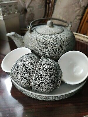 Vintage Chinese Herbal Tea Set - Stoneware Spotty  Pattern - 4 Cups And Teapot  • 8.99£