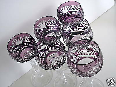 AJKA HUNGARY AMETHYST CASED CUT TO CLEAR CRYSTAL WINE GOBLETS Set Of 6 • 361.23£