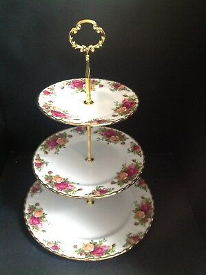 Stunning Royal Albert Old Country Roses 3-Tier Cake Stand • 22.50£