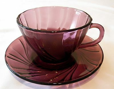 2 Duralex France Rivage Amethyst Cup & Saucer Sets • 8.10£