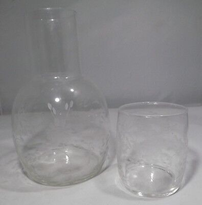 Antique Edwardian Acid Etched Glass Water Decanter With Drinking Glass • 40£