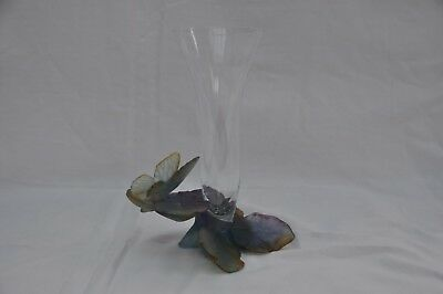 DAUM BUTTERFLY PAPILLON 01495 SOLIFLOR VASE 8.5  (215mm) Original Condition/box • 345£
