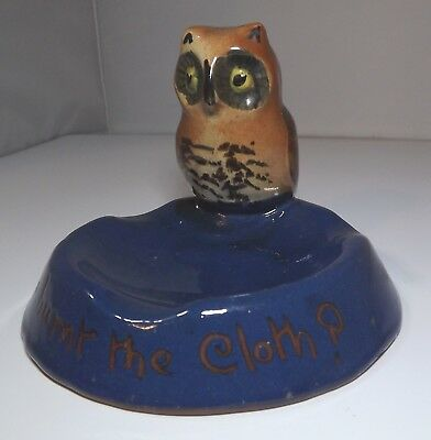 Vintage Royal Torquay Pottery Owl Ashtray In Cobalt Blue Torquay-Ware • 95£