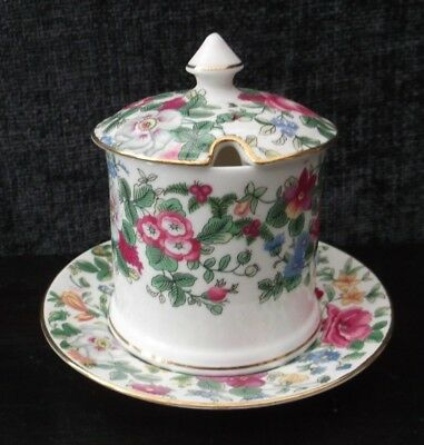 Thousand Flowers Jam Pot And Saucer Crown Staffordshire  • 14.99£