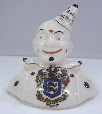Vintage Arcadian China Crested Ware Clown With Brighton Crest • 35£