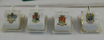 4 Crested Ware Miniature Cheese Dishes Scarborough/ramsgate/margate/bournemouth • 4£