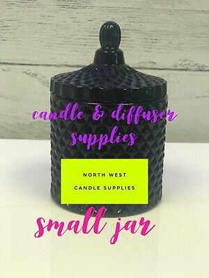 New Cut Glass Geo Jar Small Black Glass For Candle Making- Single 220g • 5.99£
