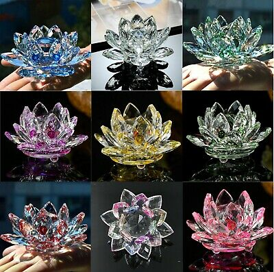 Crystal Lotus Flower Ornament Large Crystocraft Home Decor_ All Colours Free P&p • 12.99£