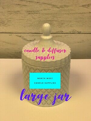 New Cut Glass Geo Jar Large White Glass For Candle Making 440g • 7.99£