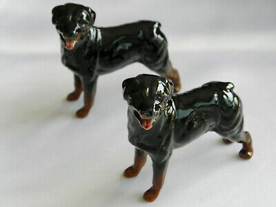 VINTAGE 1991 PAIR OF BESWICK ROTTWEILER'S STANDING ~ Model No 3260 • 25£