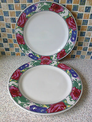 6 X Dinner Plates Pretty Floral Border Red Blue & Pink • 10.99£