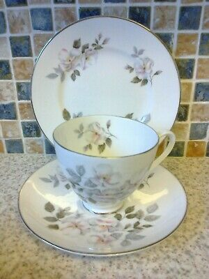Ridgway Royal Adderley Bone China Silver Rose Design Trio Cup Saucer Side Plate • 2.99£