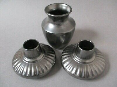 X3 Pieces Of Prinknash Pewter / Black Abbey Pottery ~ Pair Candle Holders + Vase • 14.99£