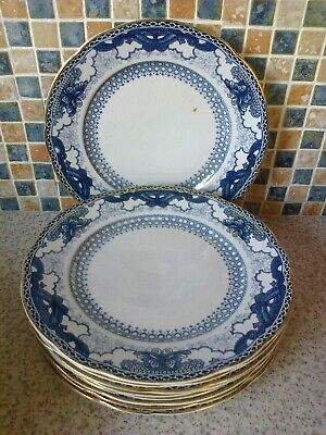 Booths Silicon China England 9 X Small Dinner Plates Blue/white Butterfly Border • 6.99£